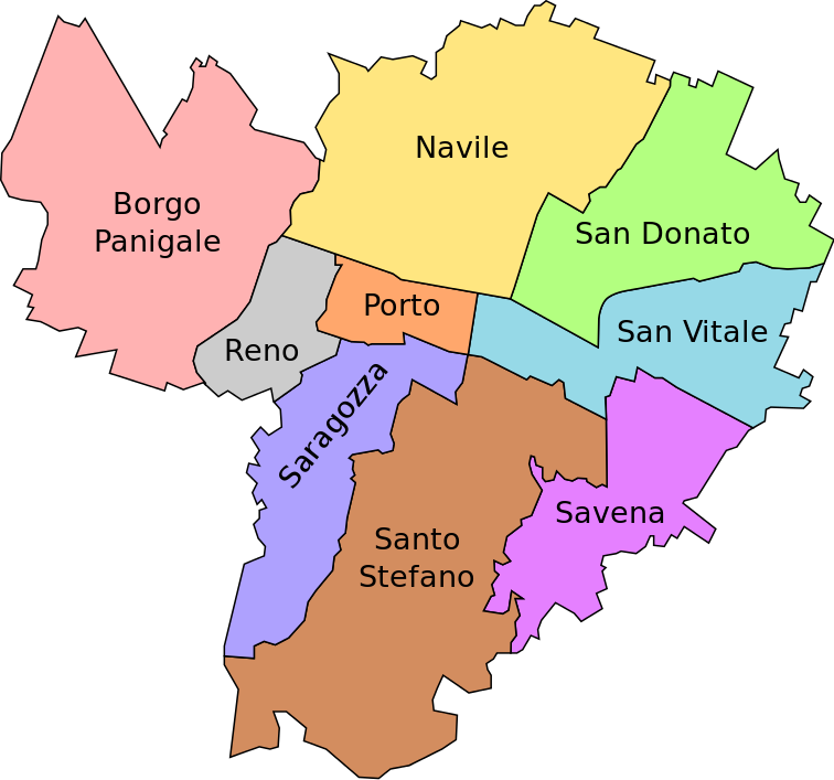 Map areas of Bologna